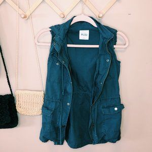 Mudd Dusty Blue Hooded Zip & Button Cargo Vest